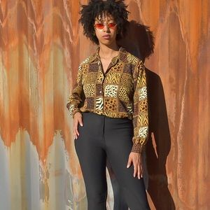Vintage Cheetah Print Blouse by Notations